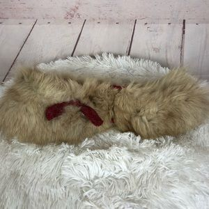 Vintage Fur Collar Wrap With Red Bow
